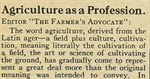 Agriculture as a Profession